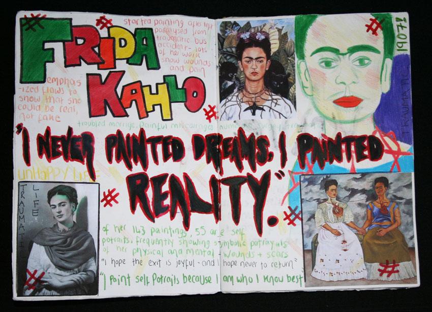 Frida Kahlo Sketchbook Presentation Art Adventurer Portfolio