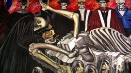 A panel from Jose Clemente Orozco's mural series at Dartmouth featuring calaveras