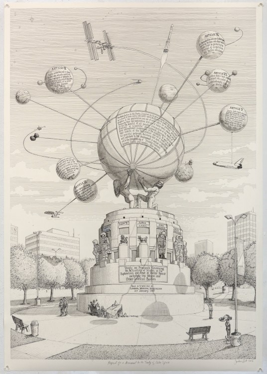 Sandow Birk, Proposal for a Monument to the Treaty of Outer Space from Imaginary Monuments, 2016; ink on paper, 60 x 42 inches; courtesy of the artist and Koplin Del Rio Gallery, Seattle, Washington