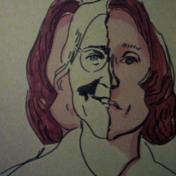 Masculine  Feminine. Photo Courtesy of The Beall Center for Art + Technology. Maria Lassnig. Self Portrait. 1971.