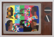 Derrick Adams Show Down, 2014 Mixed media collage on paper and mounted on archival museum board Framed: 50 9/16 x 74 1/4 inches (128.4 x 188.6 cm) Courtesy: Tilton Gallery and the California African American Museum