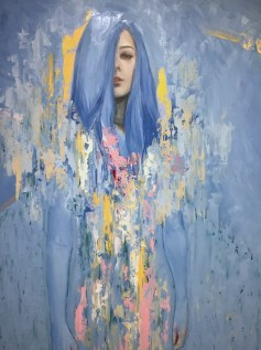 Meredith Marsone, Detail of Blue Woman, Corey Helford Gallery Photo credit- JulieFaith ©2017, All rights reserved.