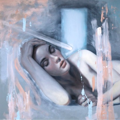 Meredith Marsone, Fighting To Stay Awake, Corey Helford Gallery Photo credit- JulieFaith ©2017, All rights reserved.