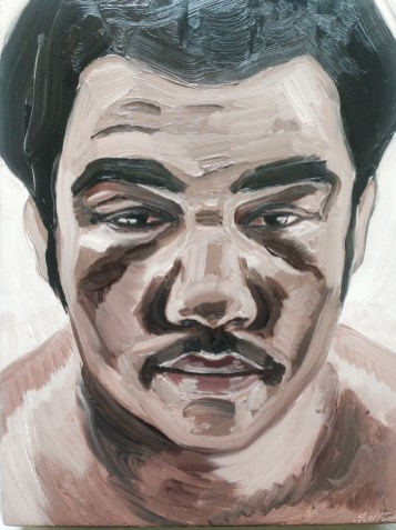 "Salomon Huerta George Foreman, from the Boxer series, 2016 oil on canvas 12 x 9"" © Salomon Huerta 2016. Image courtesy of the artist. About Face. Kellogg University Art Gallery."