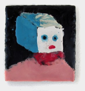 """Blockhead encaustic on wood 5.5"""" x 6"""" 2008. Don Procella. Everything Must Go. Noysky Projects. Photo Courtesy of Noysky Projects."""