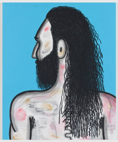 Carroll Dunham Wrestler (2), 2016-2017 Mixed media on linen 40 1/16 x 33 x 1 1/8 inches. Photo: David Regen, Courtesy of the artist and Blum & Poe, Los Angeles/New York/Tokyo.