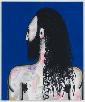 Carroll Dunham Wrestler (3), 2016-2017 Mixed media on linen 40 1/8 x 33 1/16 x 1 3/16 inches. Photo: David Regen, Courtesy of the artist and Blum & Poe, Los Angeles/New York/Tokyo.