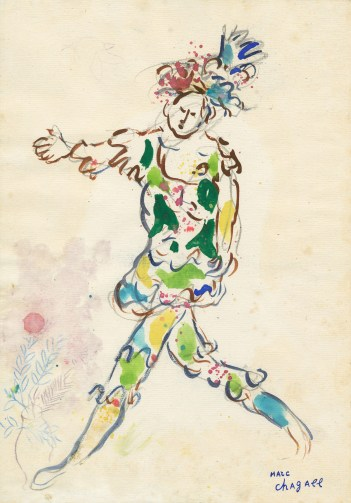 Marc Chagall, Costume Design for Daphnis and Chloe: Young Man, 1958, gouache, watercolor, graphite, and paper collage on paper, 13 3/8 × 9 3/8 in., private collection, © 2017 Artists Rights Society (ARS), New York/ADAGP, Paris, photo © 2017 Archives Marc et Ida Chagall, Paris