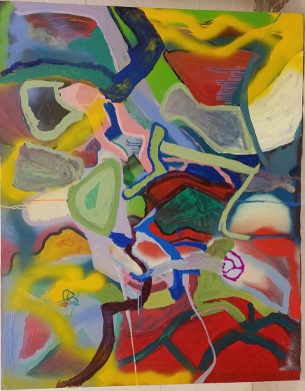 Aljosha Owen, Untitled, acrylic on canvas, 60 x 48 inches2017. Summery Appeal. Good Luck Gallery, Chinatown. Photo Courtesy of the Gallery.