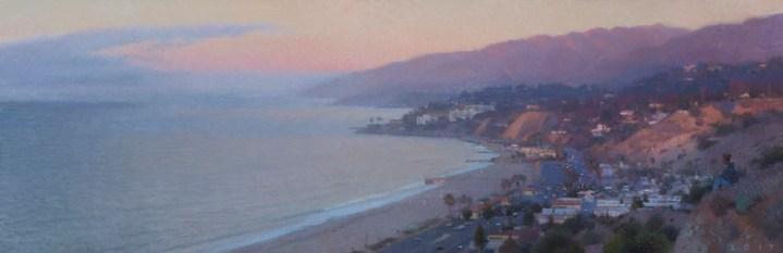 "Palisades North View (Fog at Dawn), 2017 oil on canvas 17 x 52"". Ann Lofquist. Photo Courtesy of Craig Krull Gallery."