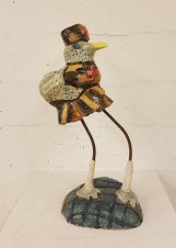 Armando Saucedo, ceramic and mixed media, 25x14 inches, 2016. Summery Appeal. Good Luck Gallery, Chinatown. Photo Courtesy of the Gallery.