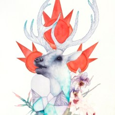 Orion's Lament: Cervus canadensis 2017 Ink and watercolor on Arches paper 24 x 18 inches Courtesy of the artist and Bermudez Projects, Los Angeles