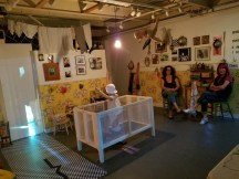 """Two Women, One Reality"" Installation by Bibi Davidson & Dwora Fried. Shoebox Projects. Photo Credit Kristine Schomaker"