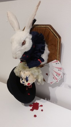 """Hare Houdini"" by Amber Keithley. Sacrificial Lamb. Lethal Amounts Gallery. Photo Credit Jennifer Susan Jones"