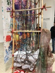 Scaffolding by Connie DK Lane in Salvage at Art Exchange Exhibition Space; Photo credit Genie Davis
