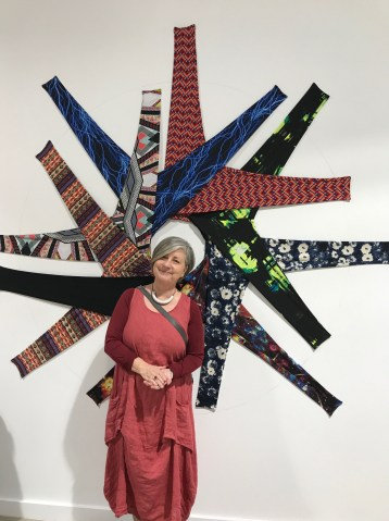 Stretch Pant Nation by J. Renee Tanner in Salvage at Art Exchange Exhibition Space; Photo credit Genie Davis