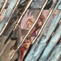 """Moody Blues for Jack Whitten."" (detail) Mark Bradford, ""Mark Bradford. New Works"", Hauser & Wirth Los Angeles; Photo credit Shana Nys Dambrot"