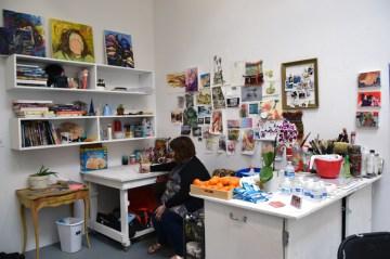 Megan Kinney at CGU Open Studios. Photo credit: Kristine Schomaker.