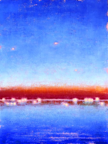 Gay Summer Rick's Skyways and Highways, Night Lights From the Highway, Oil on Canvas, 40x30in at BG Gallery. Photo courtesy of the artist.