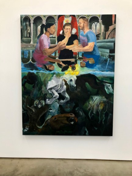 Celeste Dupuy-Spencer, Darkness Is Not Dark (Light Shines As Day), oil on linen, 65 x 50 inches, 2018 at Nino Mier Gallery. Photo credit: Shana Nys Dambrot.