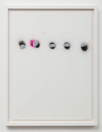 Untitled (5 Rings) Collage, Swarovski crystals and spray paint on paper in Sadie Barnette: Black Sky at Charlie James Gallery. Photo courtesy of the gallery.