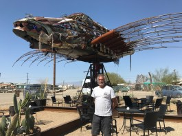 Sean Guerro, Royce and Juanita-Huff Carlson, John Murphy, Jay Cobe; Da Vinci Fish, Bombay Beach Biennale; Photo credit Genie Davis