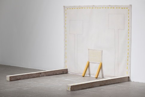 Paintings and Objects, 1973 Acrylic and pencil on canvas and wooden beams 53 ¾ × 66 × 60 ½ in. (136.5 × 167.6 × 153.7 cm) Collection of Barbara Lee Installation view, Institute of Contemporary Art, University of Pennsylvania, 2018 © The Estate of Ree Morton; courtesy Alexander and Bonin, New York and Annemarie Verna Galerie, Zurich. Photo: Constance Mensh