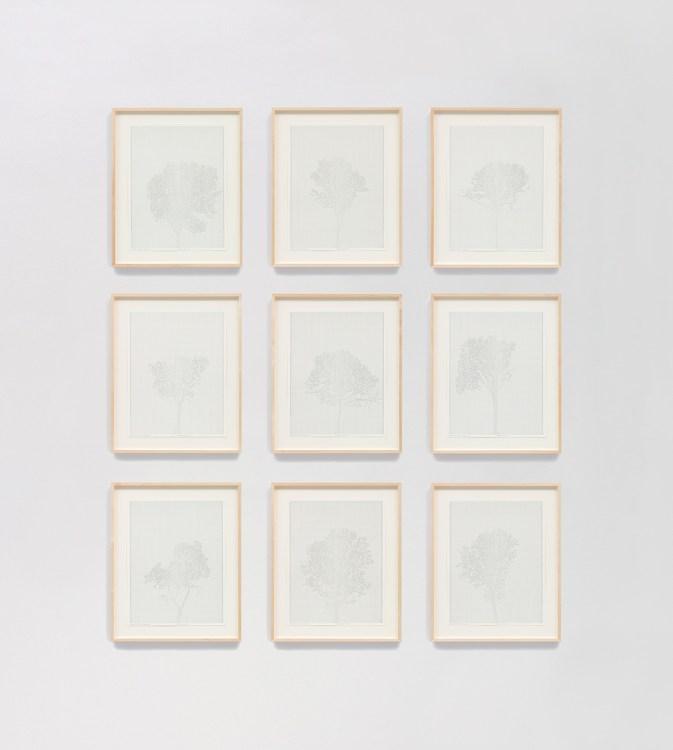 Charles Gaines, Numbers and Trees: Assorted Trees #5, Drawings 1-9, The Beatitudes of Malibu, David Kordansky Gallery; Photo credit Fredrik Nilsen Studio Courtesy of David Kordansky Gallery