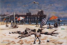 Standish Backus Jr., Goleta Beach, 1954. Watercolor on paper, 15 x 22 inches. Ken and Jan Kaplan Collection. In the Land of Sunshine: Imaging the California Coast Culture, September 25, 2016-February 19, 2017, Pasadena Museum of California Art.