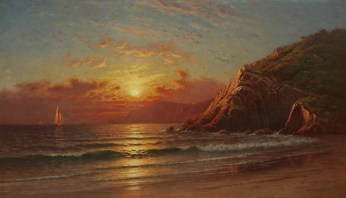Raymond D. Yelland, Golden Gate from Angel Island, 1884. Oil on canvas, 28 x 48 inches. Ray Redfern Collection. In the Land of Sunshine: Imaging the California Coast Culture, September 25, 2016-February 19, 2017, Pasadena Museum of California Art.
