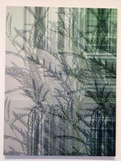 Masood Kamandy. The Effect of Lightning on a Rainbow. Luis De Jesus Los Angeles. Botanical (Green), 2017 Dye Sublimation on Aluminum 36 x 27 inches. Photo Credit Jody Zellen.