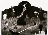 Belkis Ayón, La consagración III (The Consecration III), 1991 Collograph. Nkame: A Retrospective of Cuban Printmaker Belkis Ayón Fowler Museum at UCLA, Photo Courtesy of the Fowler Museum.