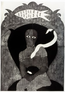 Belkis Ayón, Sikán, 1991 Collograph. Nkame: A Retrospective of Cuban Printmaker Belkis Ayón Fowler Museum at UCLA, Photo Courtesy of the Fowler Museum.