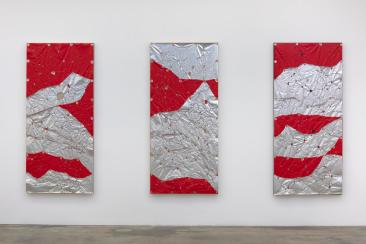 Amino Acids. John Knuth. Gabriel Complex. 2017. Thermal Blanket, Grommet, Acrylic on Canvas. 80 x 36 inches each. Photo Courtesy of ACME Gallery.