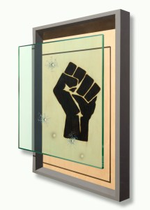 ICONIC: Black Panther. Gregorio Escalante Gallery, Los Angeles, CA. Ryan McCann Evidence of Assault 2017 Blowtorch and acrylic on wood. Photo Courtesy of Sepia Collective and The Artist.