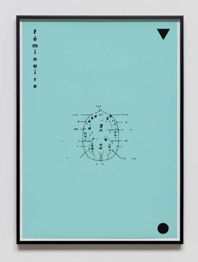Mai-Thu Perret Féminaire, 2017 screenprint on paper. Photo Courtesy of David Kordansky Gallery.
