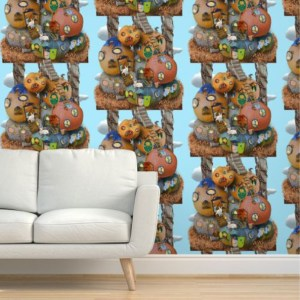 Stacks of tiny pumpkin houses against a light blue sky: click through to purchase a wallpaper on Spoonflower