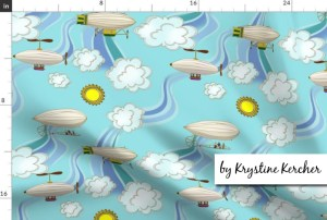 Fabric by the Yard Art Nouveau Steampunk Dirigibles blue fabric from Spoonflower features antique dirigibles or blimps floating in a celadon blue sky among the wafting air currents and puffy little clouds.