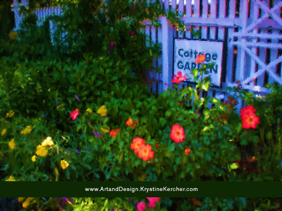 Painterly cottage garden roses poster