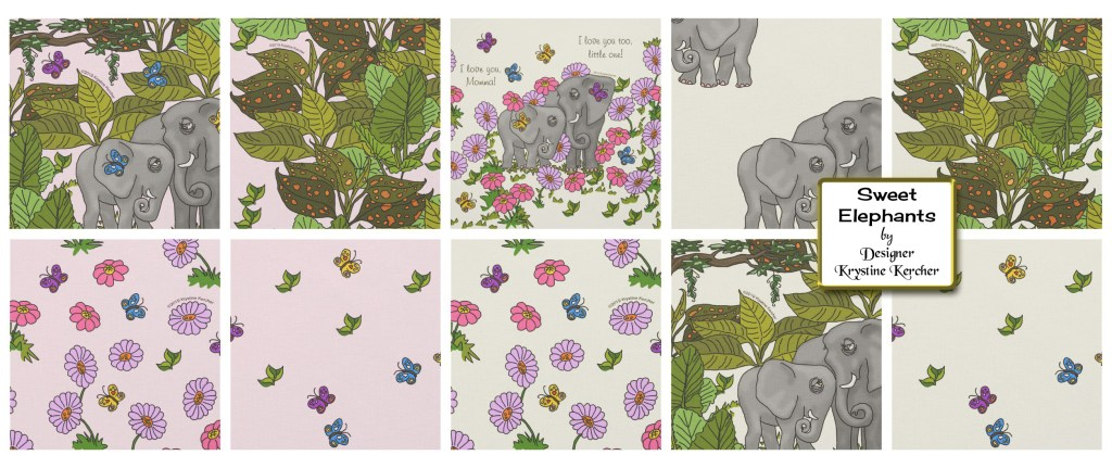 Click through to shop my Sweet Elephants Fabric Collection on Zazzle