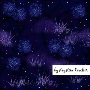 Fireflies bioluminescence design in dark blue and purple: click through to purchase