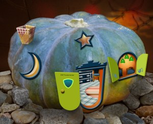 This is my favorite of all my whimsical tiny pumpkin houses: blue-green pumpkin with open lime green door and shutters.