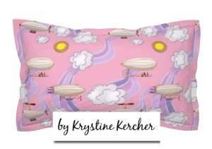 Art Nouveau Steampunk Dirigibles pink pillow from Spoonflower. Purple breezes waft dirigibles between fluffy clouds on a pretty pink background. Click thru for fabric by the yard, wallpaper, and home decor.
