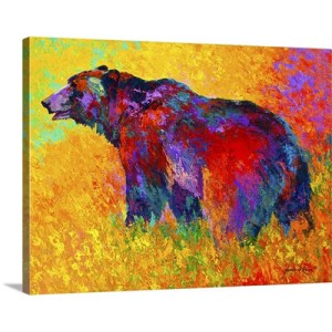 Into the Wind Grizzly by Marion Rose Art Print on Canvas