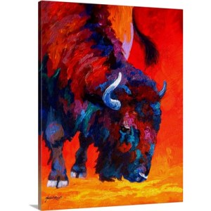 Grazing Bison by Marion Rose Art Print on Canvas