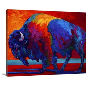 Abstract Bison by Marion Rose Art Print on Canvas