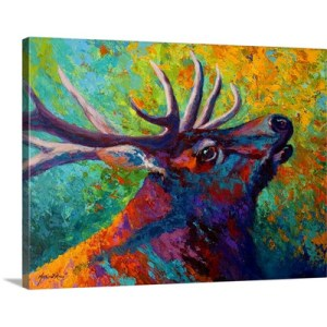 Forest Echo Elk by Marion Rose Art Print on Canvas