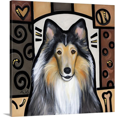 Collie Pop Art by Eric Waugh Painting Print on Canvas