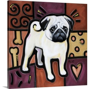 Pug Pop Art by Eric Waugh Painting Print on Canvas