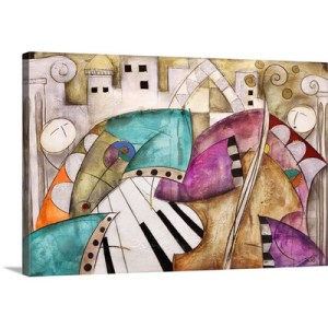 Ancient city jazz I piano bass by Eric Waugh Painting Print on Canvas